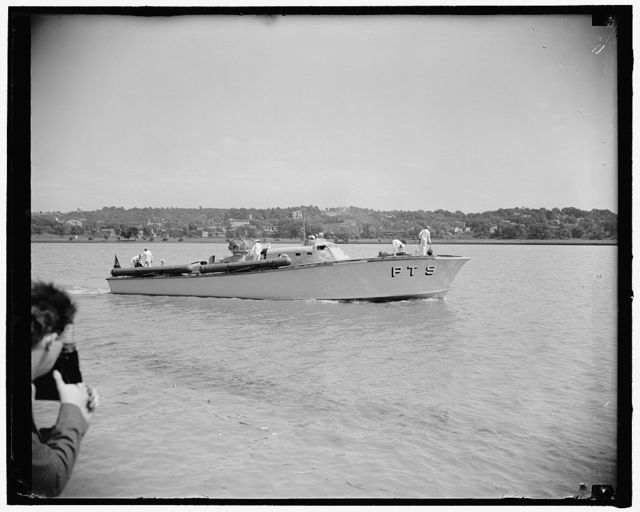 New 'Mosquito Boat' ready for action. Washington, D.C., June 19. The PT-9, first of the American Motor Torpedo Boats to be delivered to the U.S. Navy under the President's $15,000,000 experimental small craft program had a preview showing for the press today. The 'Mosquito Boat' and eight other ones will be based at the naval operating base, Norfolk, Va., where they will undergo service tests under various sea conditions to determine their capabilities and limitations. This is the same type of boat that the government is in the process of releasing to the British Navy. Chairman David L. Walsh of the Senate Naval Affairs Committee expressed indignation over the Navy's action in this respect in view of the fact that this government is trying to build up its own sea power