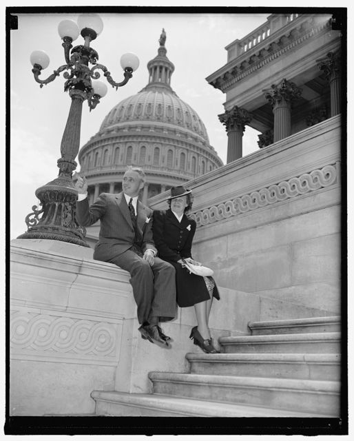 New Republican Senator from Vermont and wife. Washington, D.C., July 1. The new Republican Senator from Vermont and Mrs. Ernest W. Gibson, Jr. Senator Gibson was named to fill the unexpired term of his late father, Senator Ernest W. Gibson, who until his death a few weeks ago, served in the Senate since 1933, 7-1-40