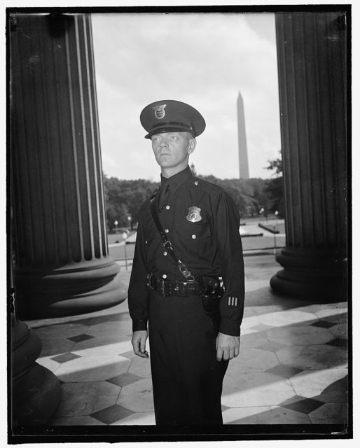 New uniform for U.S. Treasury guards. Washington, D.C., Aug. 26. Neat but not gaudy is the scheme of the new uniform of the U.S. Treasury guards. Blue shirt, blue uniform trousers with Sam Browne belt replaces the odd trousers and shirts of many colors formerly worn by the guards while on duty. A neat cap, patterned after the ones worn by the New York Coppers, tops off the new outfit. Furnishing the men with new standard uniforms is the first step taken by the U.S. Secret Service since they were given supervision of the guards. Harold nelson, a Treasury Guard for three years, is displaying the uniform in this picture, 8/26/37