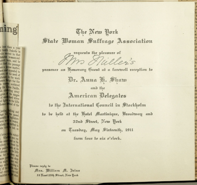 New York State Woman Suffrage Association Invitation to Farewell Reception for Anna Shaw and Delegates to International Council in Stockholm