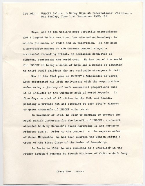 [ News Release by Rogers & Cowan, Inc., June 1, 1986]