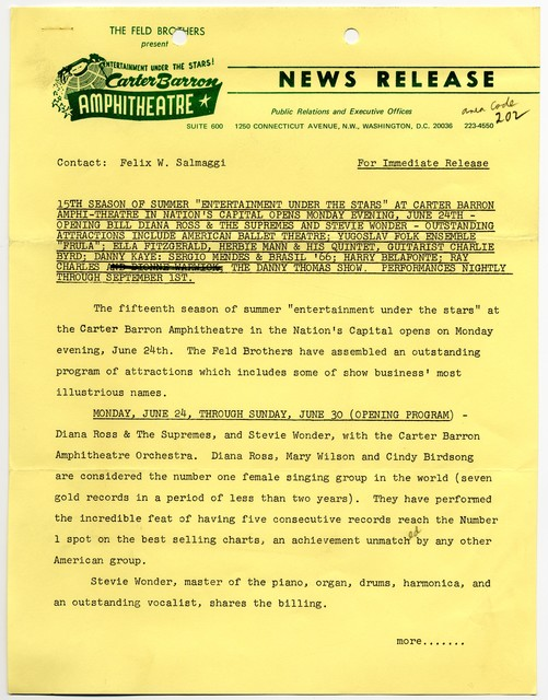[ News Release - Carter Barron Amphitheatre, 1968]