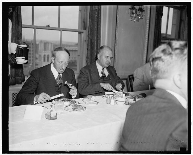 Newsmen dine French Ambassador. Washington, D.C., May 13. French Ambassador Georges Bonnet apparently enjoyed his lunch today at the National Press Club where he was a guest of the members. In a short speech following the luncheon Ambassador Bonnet defended the Franco-Soviet military alliance as a force of peace instead of war