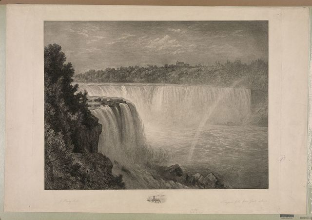 Niagara Falls. Part of the American Fall from the foot of the stair case