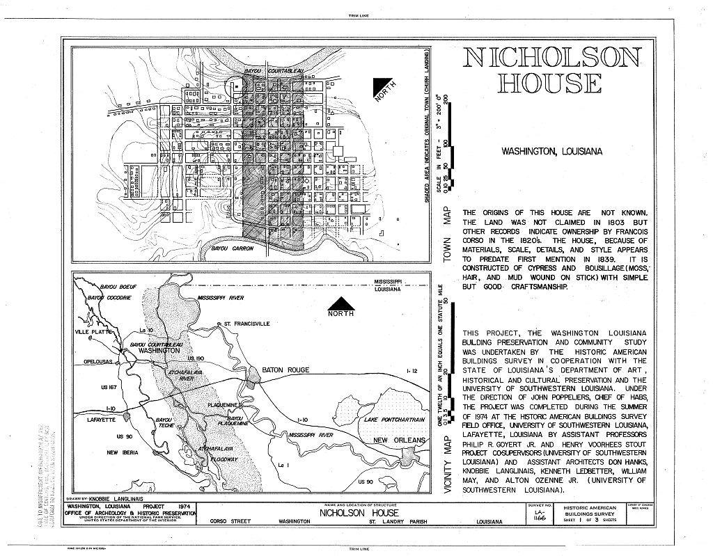 Nicholson House, Corso Street, Washington, St. Landry Parish, LA