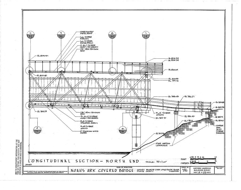 Noah's Arc Covered Bridge, County Route B over Little Platte River, Hoover, Platte County, MO