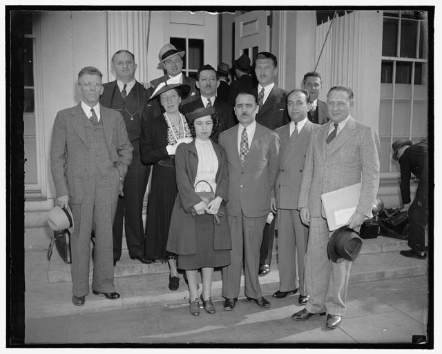 North American Democratic Hungarian Federation. Front row, left to right: Joe Kiss; Rep. John T. Bernard and Joseph Brownfield. 2nd row, left to right: Rep. Henry T. Teigan; Rep. Caroline O'Day. Rear row, left to right: Rep. John M. Coffee; Rep. Jerry O'Connell; Irwing Eisner; Rev. Imre Kovacs and William Schick, 5/10/38