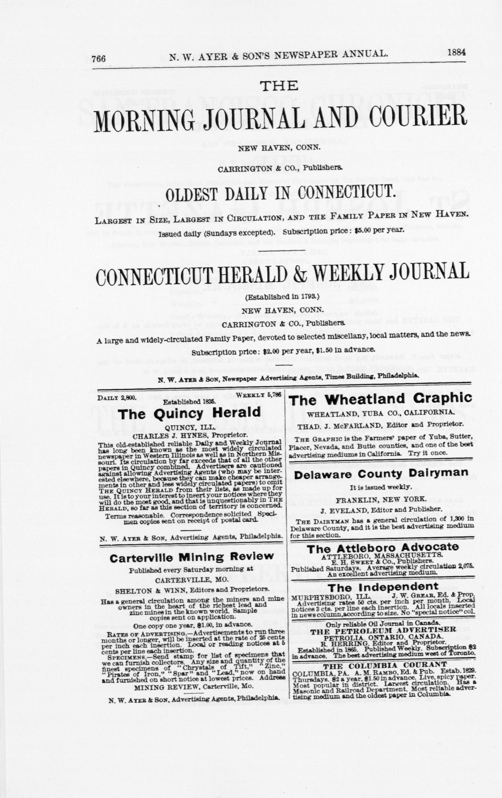 N.W. Ayer & Son's American newspaper annual. 1890. Part I.