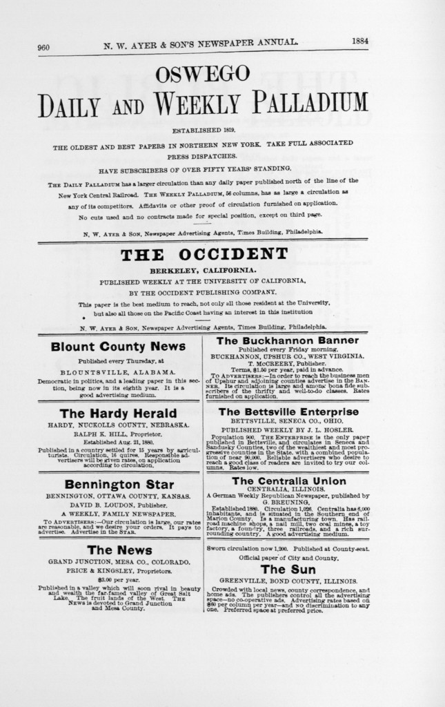 N.W. Ayer & Son's American newspaper annual. 1897 Part I