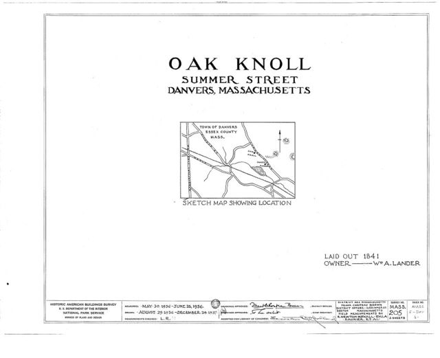 Oak Knoll, Summer Street, Danvers, Essex County, MA