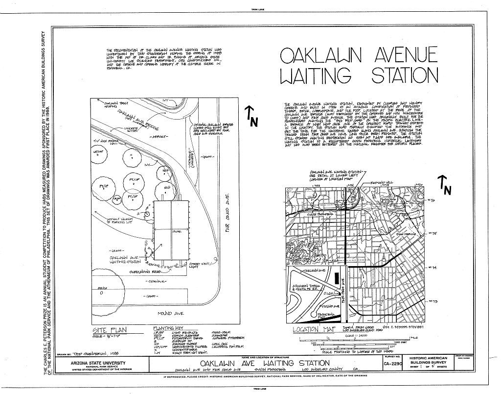 Oaklawn Avenue Waiting Station, Oaklawn Avenue at Fair Oaks Avenue, South Pasadena, Los Angeles County, CA