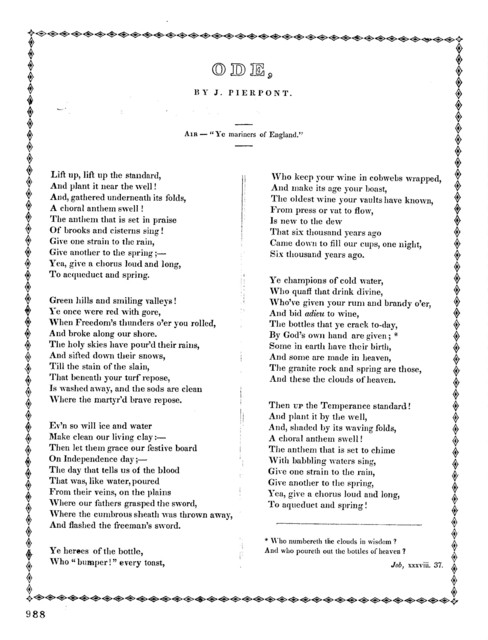 """Ode. By J. Pierport, Air- """" Ye Mariners of England."""""""