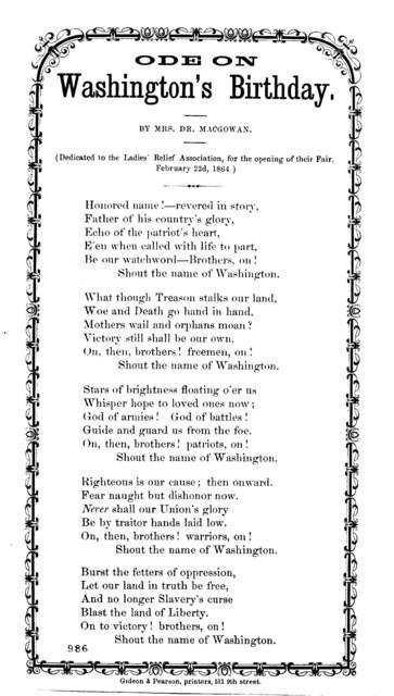 Ode on Washington's birthday. By Mrs. Dr. Macgowan. Gideon & Pearson, Printers, 511 9th street
