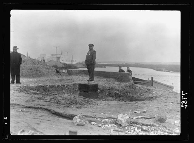 Official opening of Tel Aviv Port. Foundation stone of the Yarkon river bridge, looking N.