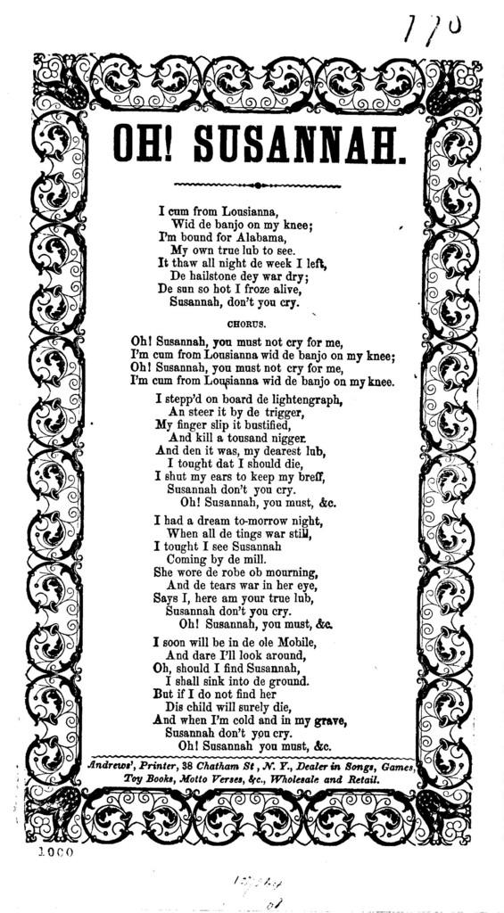 Oh! Susannah. Andrews', printer, 38 Chatham St, N. Y