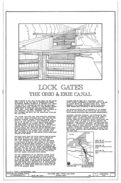 Ohio & Erie Canal, Typical Lock Gates, Canal Road between Rockside Road & Fitzwater Road, Valley View, Cuyahoga County, OH