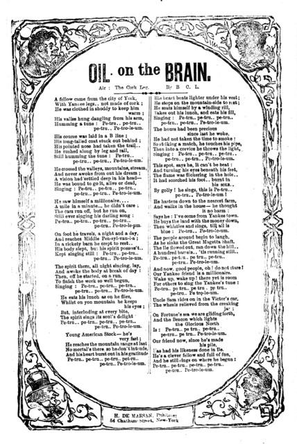 Oil on the brain. Air: The cork leg. H. De Marsan, Publisher, 54 Chatham Street, N. Y
