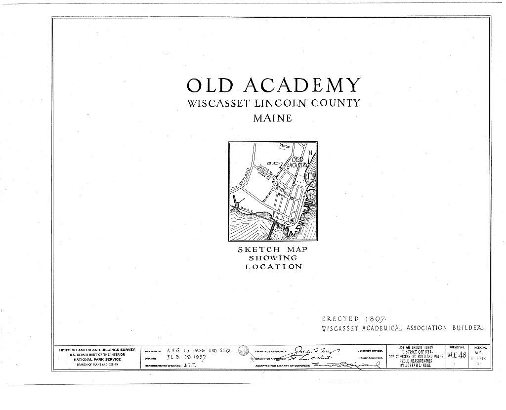 Old Academy, Warren & Hodge Streets, Wiscasset, Lincoln County, ME