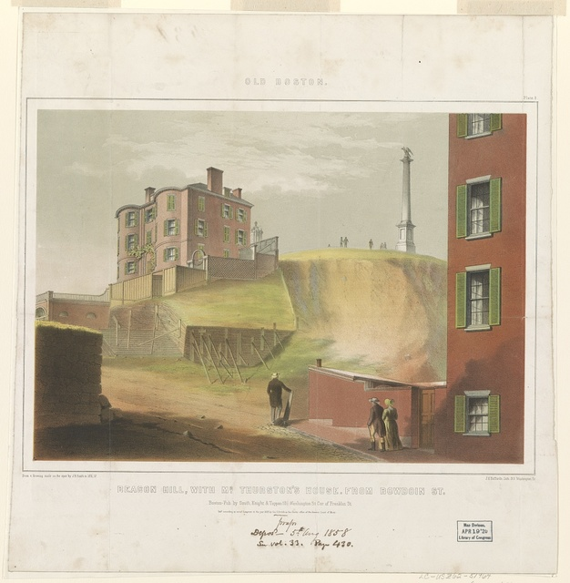 Old Boston - Beacon Hill, with Mr. Thurston's house - from Bowdoin Street