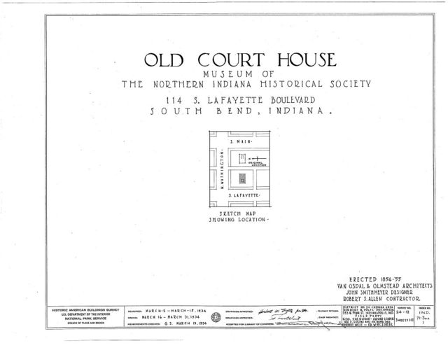 Old Court House, 114 South Lafayette Boulevard (moved from Main Street), South Bend, St. Joseph County, IN