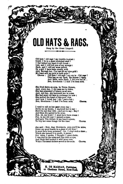 Old hats & rags. H. De Marsan, Publisher, 60 Chatham Street, N. Y