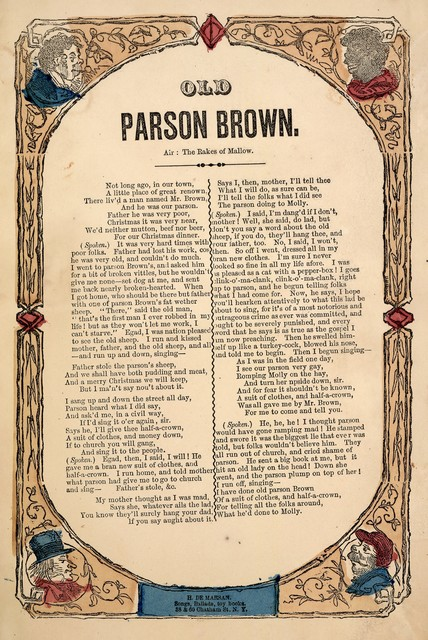 Old Parson Brown. Air The rakes of Mallow. H. De Marsan, Publisher, 38 & 60 Chatham Street, N. Y