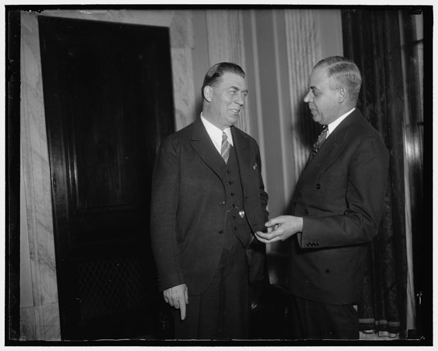 "Old Rail telegraphers now members of Congress. Washington, D.C., Jan. 9. Not so many years ago these two gents were both ""pounding brass"" on the Burlington. Now they are both members of Congress but still carry union cards in the Order of Railroad Telegaphers. Senator Ed Johnson, (left) new Democratic member from Colorado, and Rep. Lewis M. Long, new Democratic member of House from Illinois"
