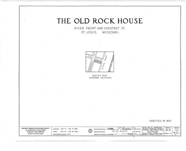 Old Rock House, Wharf & Chestnut Streets, Saint Louis, Independent City, MO