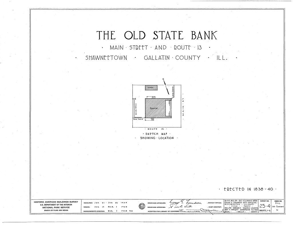Old State Bank, Main Street & Route 13, Shawneetown, Gallatin County on u.s. route 40 map, u.s. route 50 map, illinois county map,