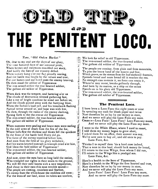 Old Tip, and The penitent Loco. Sold, Wholesale and retail by L. Deming, No 61, Hanover Street, Boston