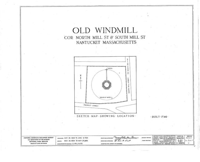 Old Windmill, North Mill & South Mill Streets, Nantucket, Nantucket County, MA