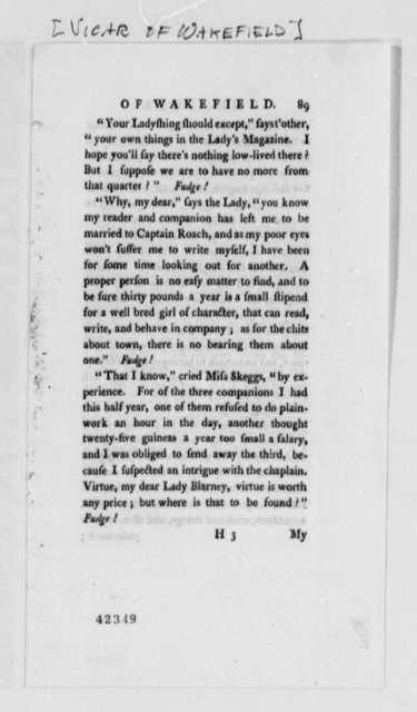 Oliver Goldsmith, no date, Printed Page Extract from Vicar of Wakefield