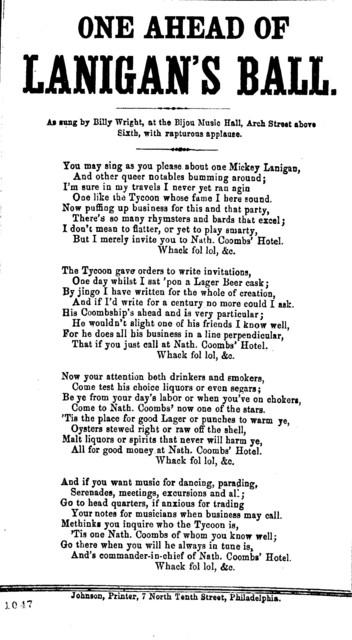 One ahead of Lanigan's ball. Johnson, Printer, 7 North Tenth Street, Philadelphia