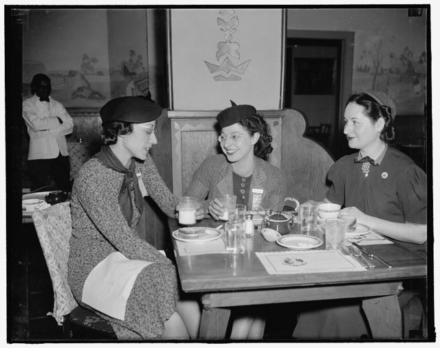 Only women delegates to United Mine Workers Convention. Washington, D.C., Jan. 24. These three women delegates to the Gas, By- Product Coke and Chemical Workers, District 50, United Mine Workers of American Convention being held in Washington, are taking an active part in the daily sessions. Left to right: Pearl Kosby, Bridgeport, Conn.; Esther Perelson, Ozone Park, Long Island, N.Y.; and Esther Levin, also of Ozone Park, 1/24/38