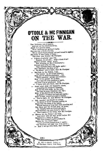 O'Toole & Mc Finnigan on the war. H. De Marsan, Publisher, 54 Chatham Street, N. Y