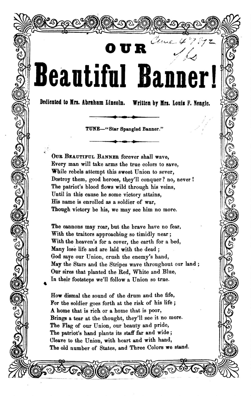 """Our beautiful banner! Written by Louis F. Neagle. Tune- """"Star Spangled Banner."""""""