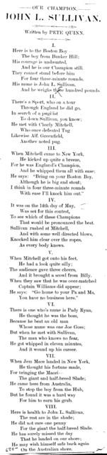 Our champion, John L. Sullivan. Written by Pete Quinn
