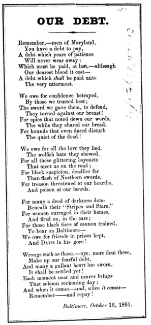 Our debt. Baltimore, October 16, 1861
