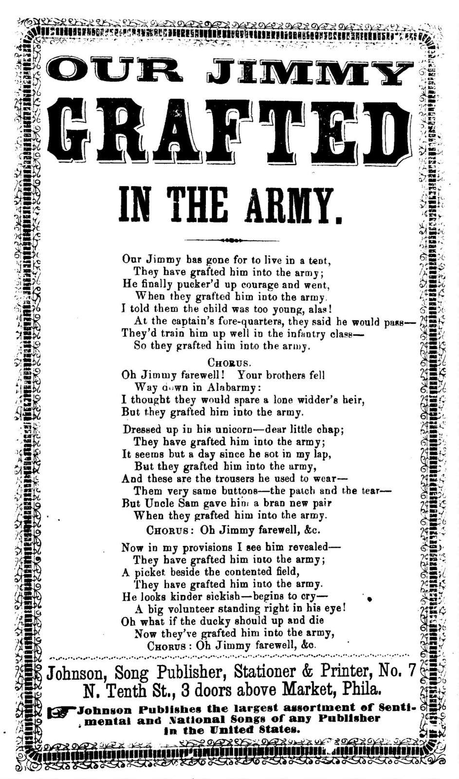 Our Jimmy grafted in the army. Johnson, Song Publisher, ... Phila