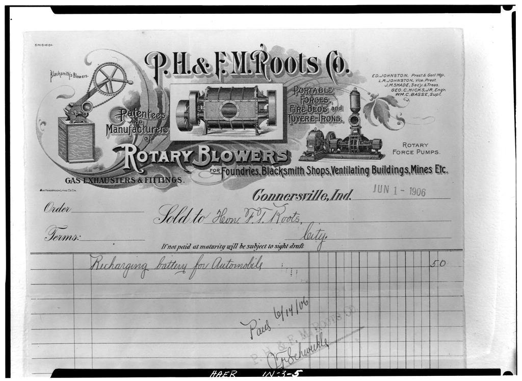P. H. & F. M. Roots Company, Eastern Avenue, Connersville, Fayette County, IN