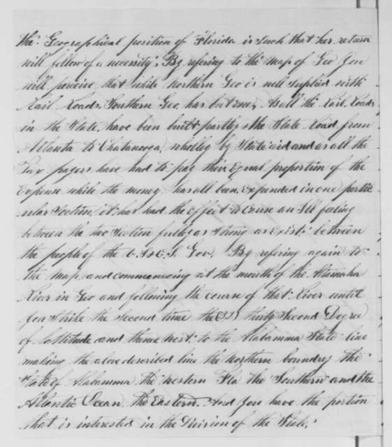 P. H. Pease to Abraham Lincoln,  ND  (Plan for returning southern Georgia and Florida to the Union)