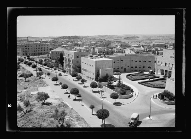 Panorama in 2 sections of Jer. [i.e., Jerusalem] fr[om] Hebrew Library roof on Scopus, May 13, '42. Zionist Executive & King George Avenue