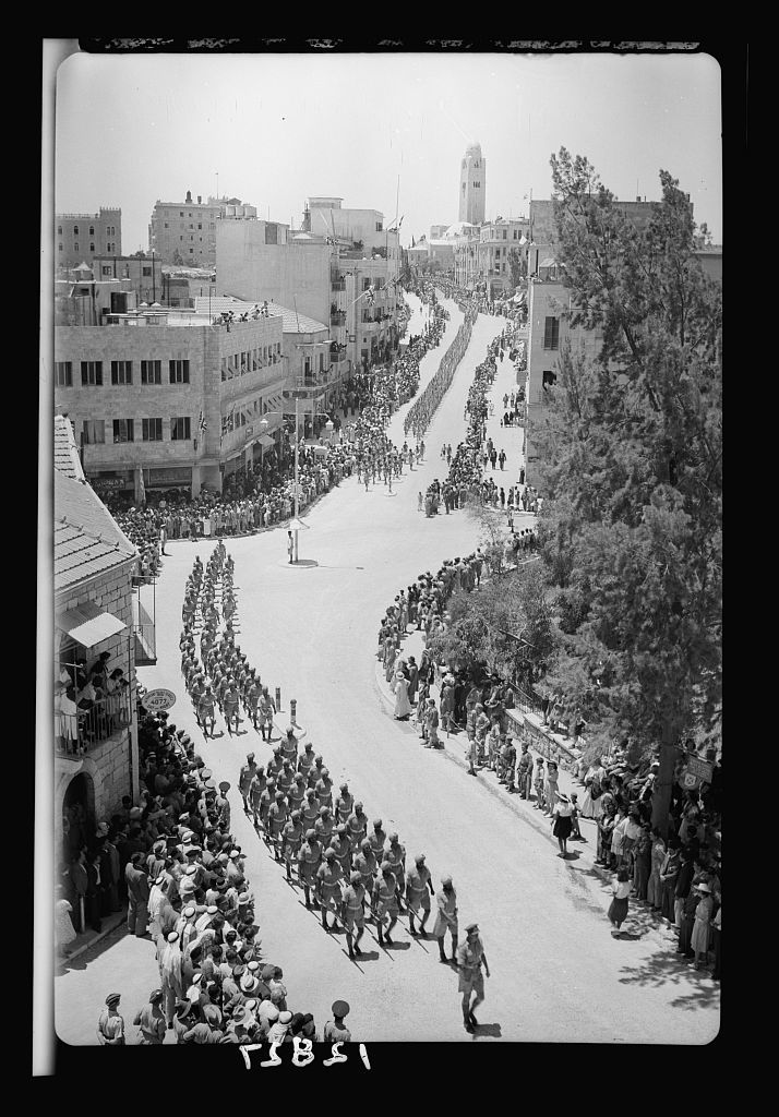 Parade of Allied nations in Jer. [i.e., Jerusalem] On June 14, '43. Gen[eral] view of parade from offices of Education Offices