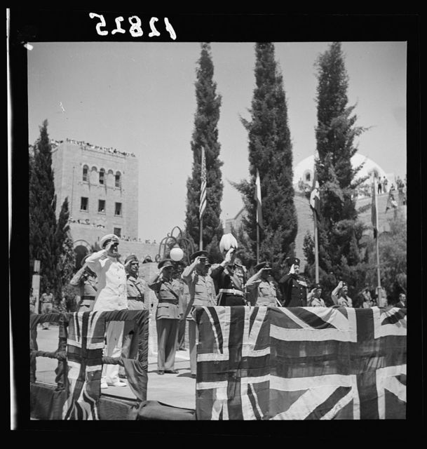 Parade of Allied nations in Jer. [i.e., Jerusalem] On June 14, '43. Grand stand, the dais where H.E. (i.e., His Excellency) took the salute