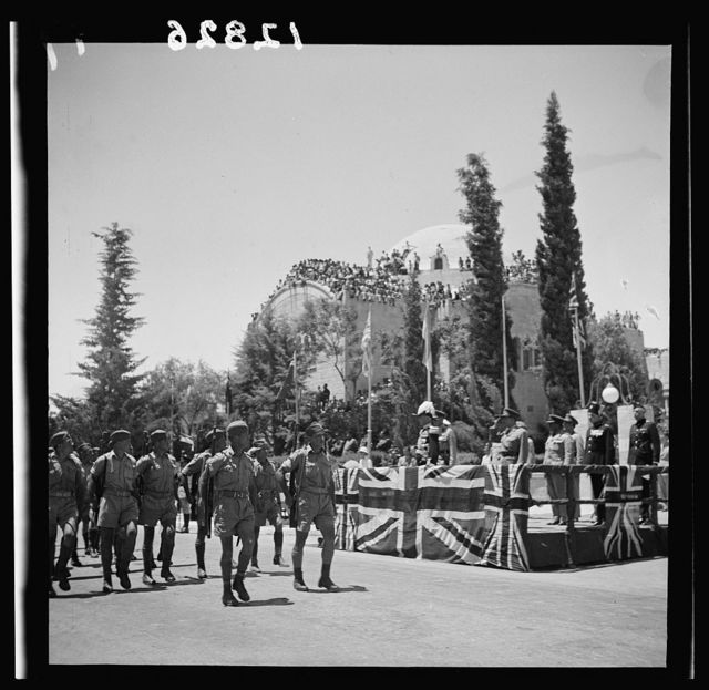 Parade of Allied nations in Jer. [i.e., Jerusalem] On June 14, '43. Troops passng the Grand St.