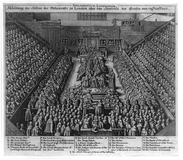 Parlamentum Londinese. Abbildung Session des Parlaments zu Londen ...