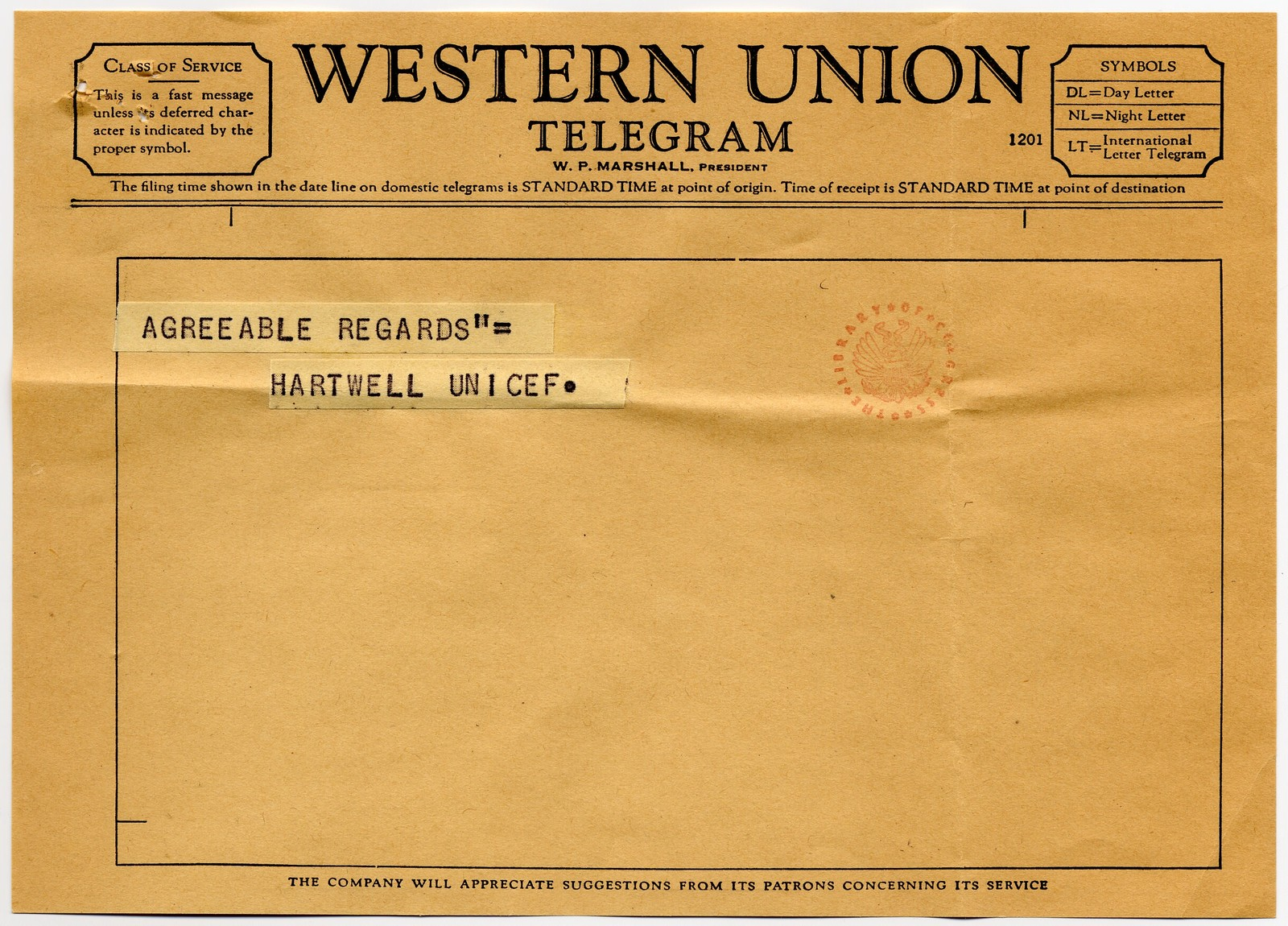 [ Particia] Hartwell [of UNICEF, United Nations, New York] to Danny Kaye, February 9, 1960