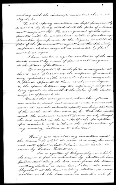 Patent application from Alexander Graham Bell, undated