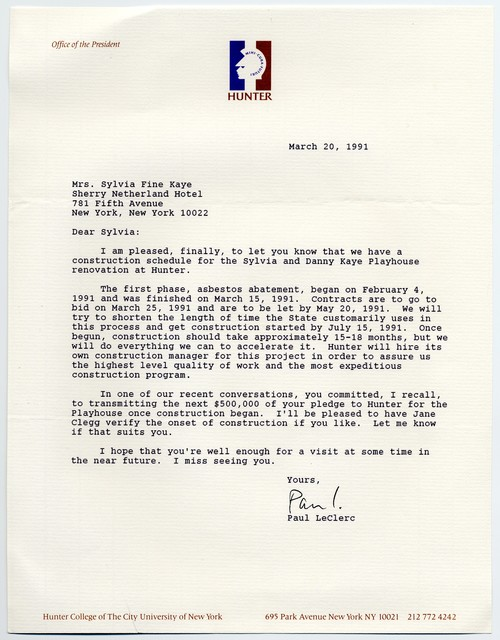 Paul LeClerc [President, Hunter College] to Sylvia Fine, March 20, 1991
