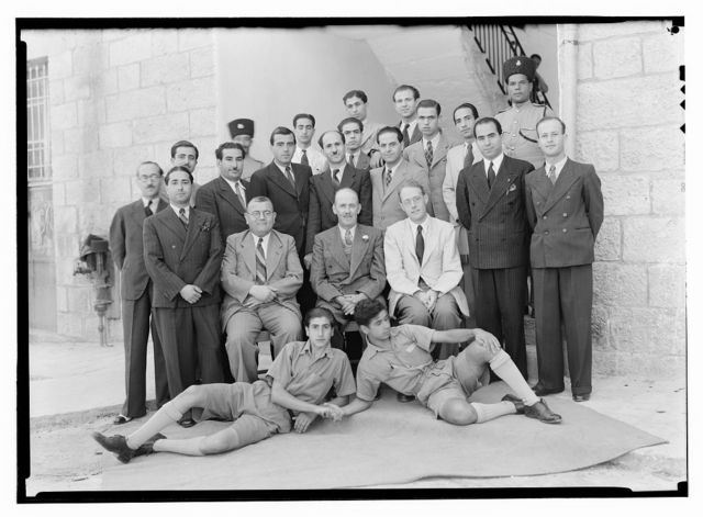 P.B.S. [i.e., Palestine Broadcasting Service] and P.J[?].O. groups, Mr. Tweedy's farewell groups. Group at Arab section of P.B.S., Sept. 25, '41
